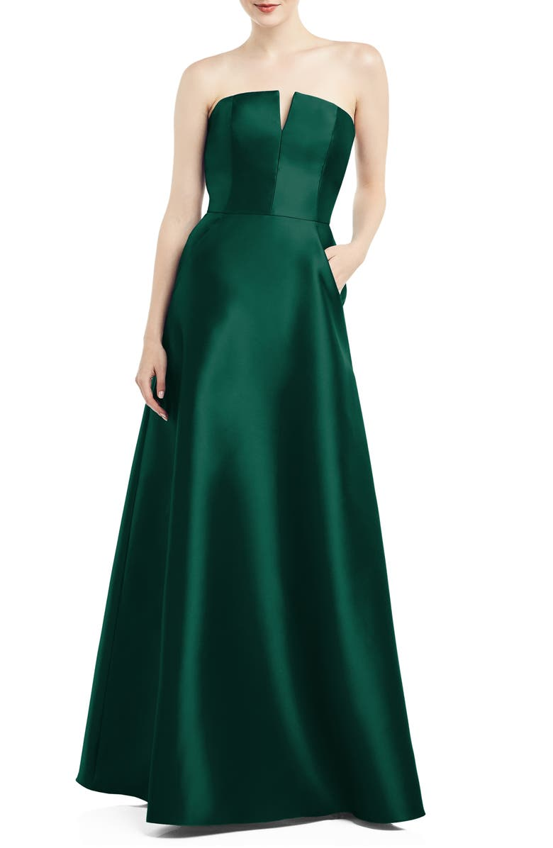 ALFRED SUNG Strapless Satin Twill Gown, Main, color, HUNTER
