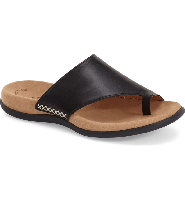 GABOR Toe Loop Sandal, Main, color, BLACK NUBUCK LEATHER