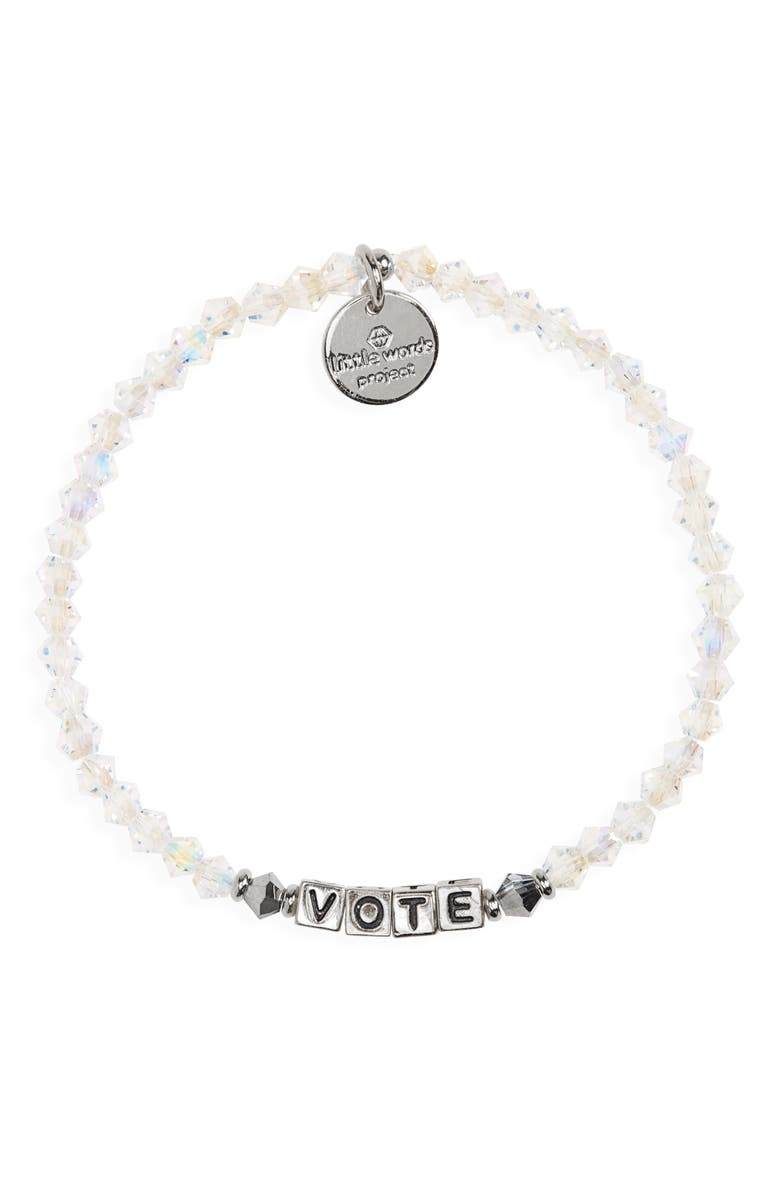 LITTLE WORDS PROJECT Vote Beaded Stretch Bracelet, Main, color, CLEAR/ SILVER