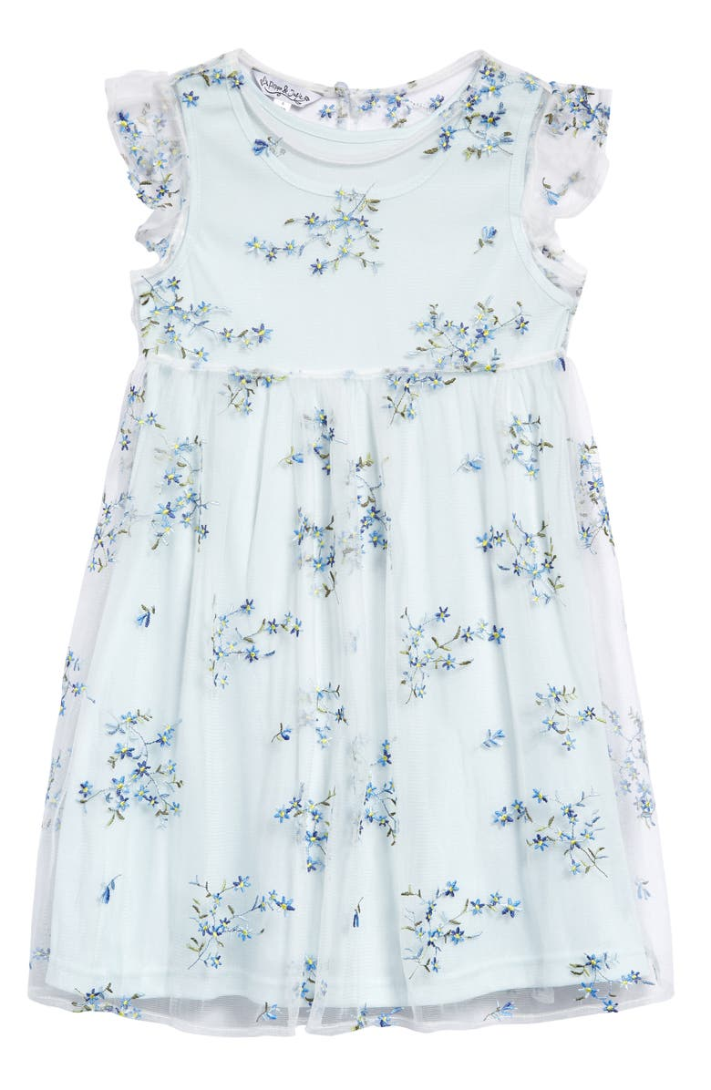 PIPPA & JULIE Kids' Floral Embroidered Party Dress, Main, color, BLUE