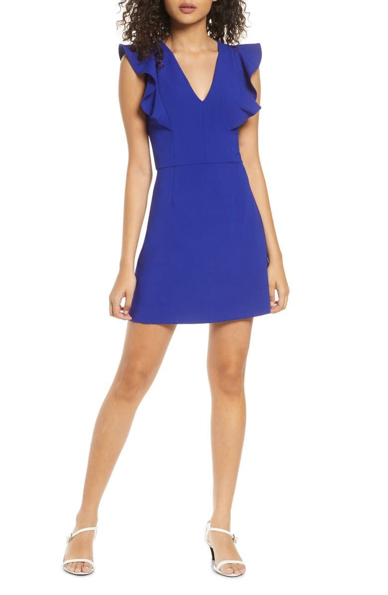 FRENCH CONNECTION Whisper Ruffle Minidress, Main, color, PRINCE ROCKS