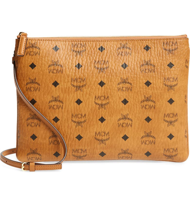 MCM Visetos Original Pouch, Main, color, COGNAC