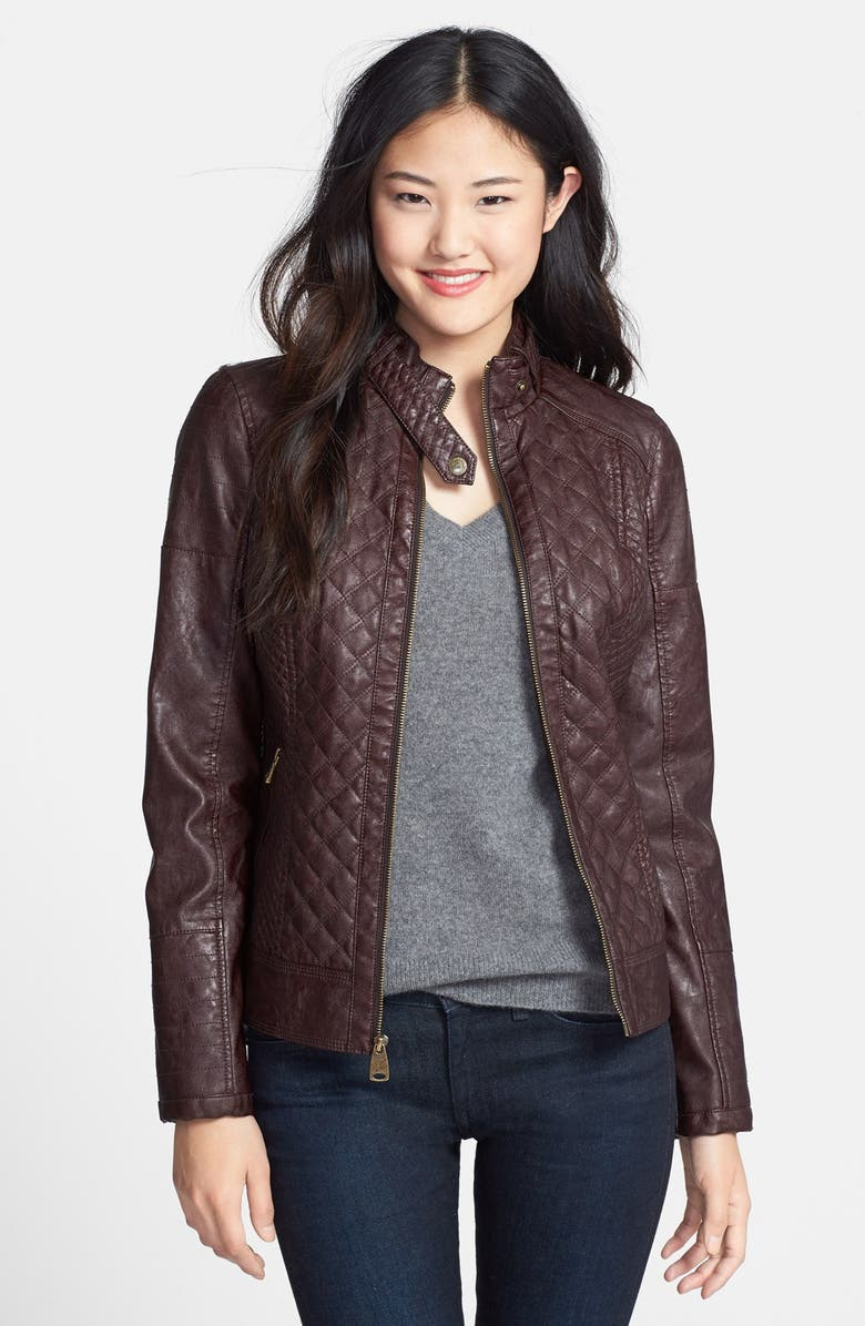 GUESS Quilted Faux Leather Jacket, Main, color, ESPRESSO