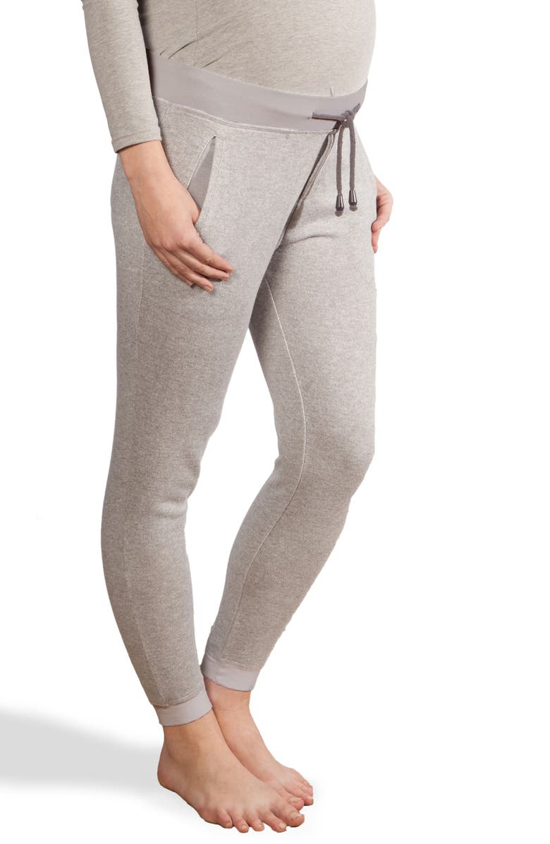 MODERN ETERNITY French Terry Maternity Joggers, Main, color, HEATHER GREY