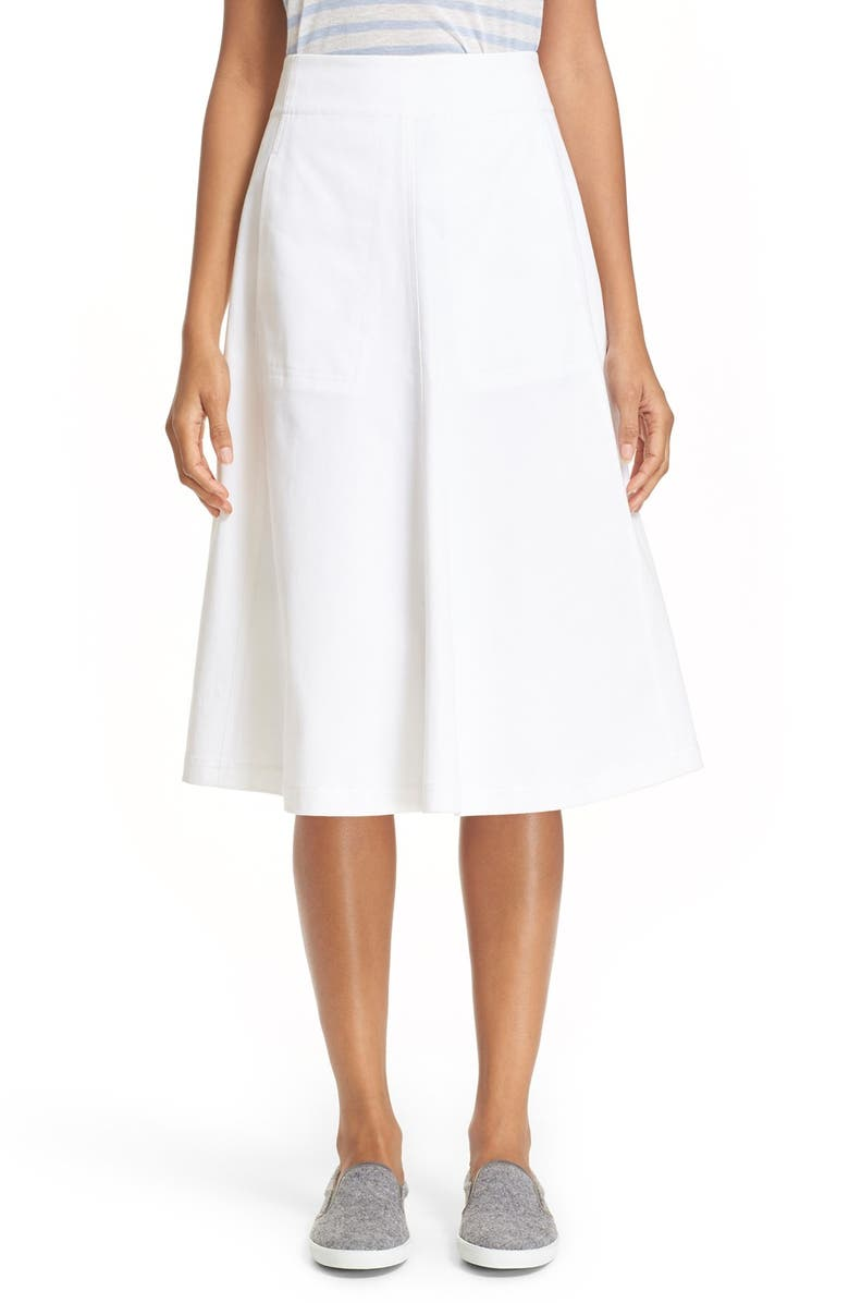 ALEXANDERWANG.T T by Alexander Wang Stretch Cotton A-Line Midi Skirt, Main, color, White