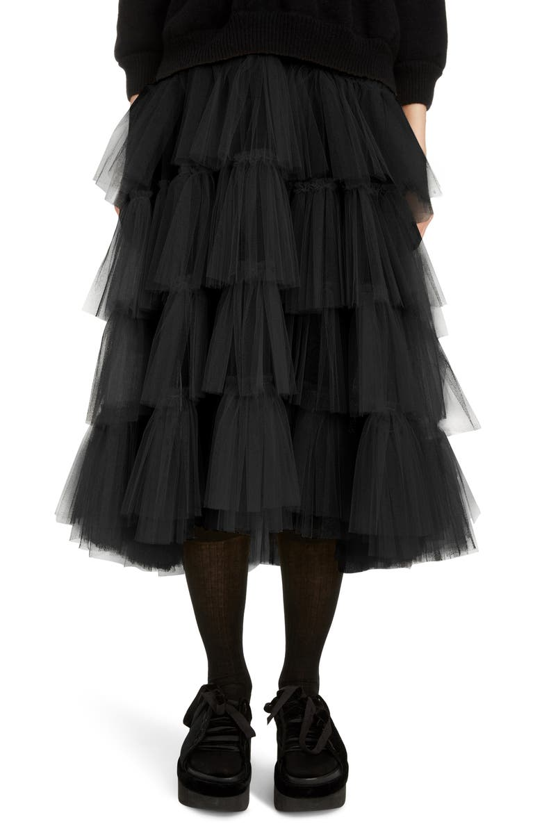 SIMONE ROCHA Tiered Tulle Tutu Midi Skirt, Main, color, 001