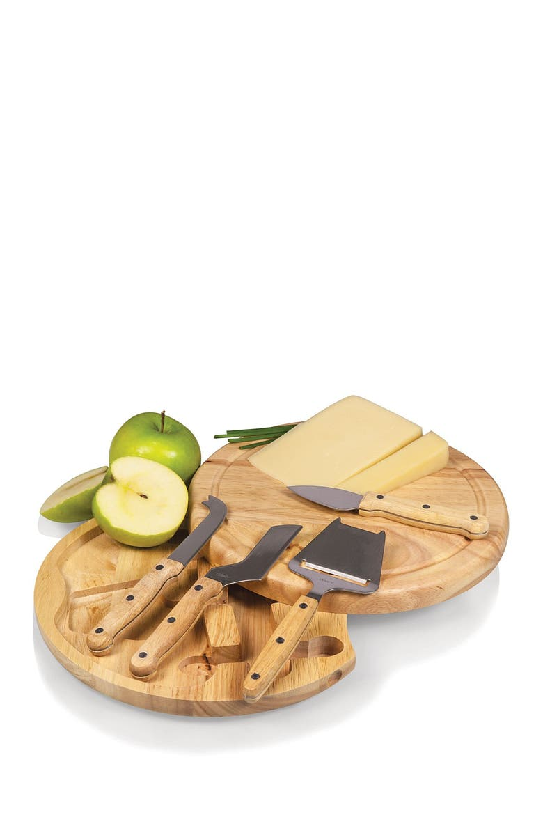 PICNIC TIME Natural Circo Cheese Board with Tools, Main, color, BROWN