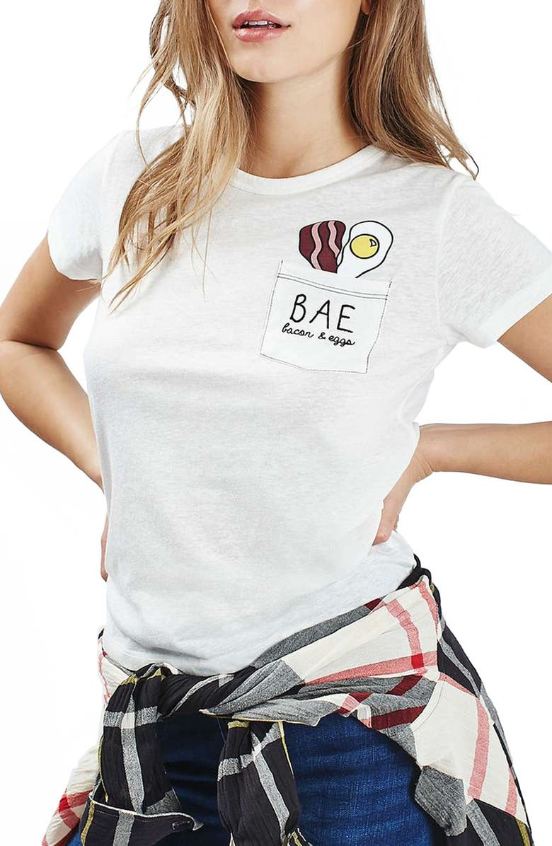 TOPSHOP by Tee and Cake 'Bacon & Eggs' Pocket Tee, Main, color, CREAM
