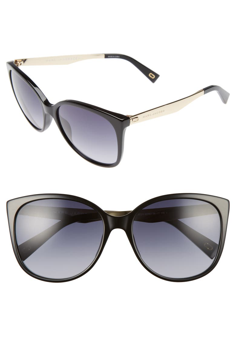THE MARC JACOBS 56mm Gradient Lens Butterfly Sunglasses, Main, color, BLACK