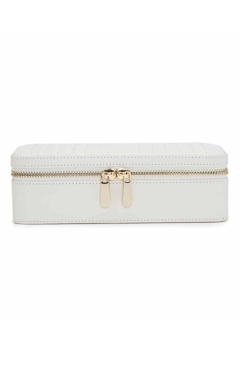 WOLF Maria Zip Rectangle Jewelry Case, Main, color, WHITE