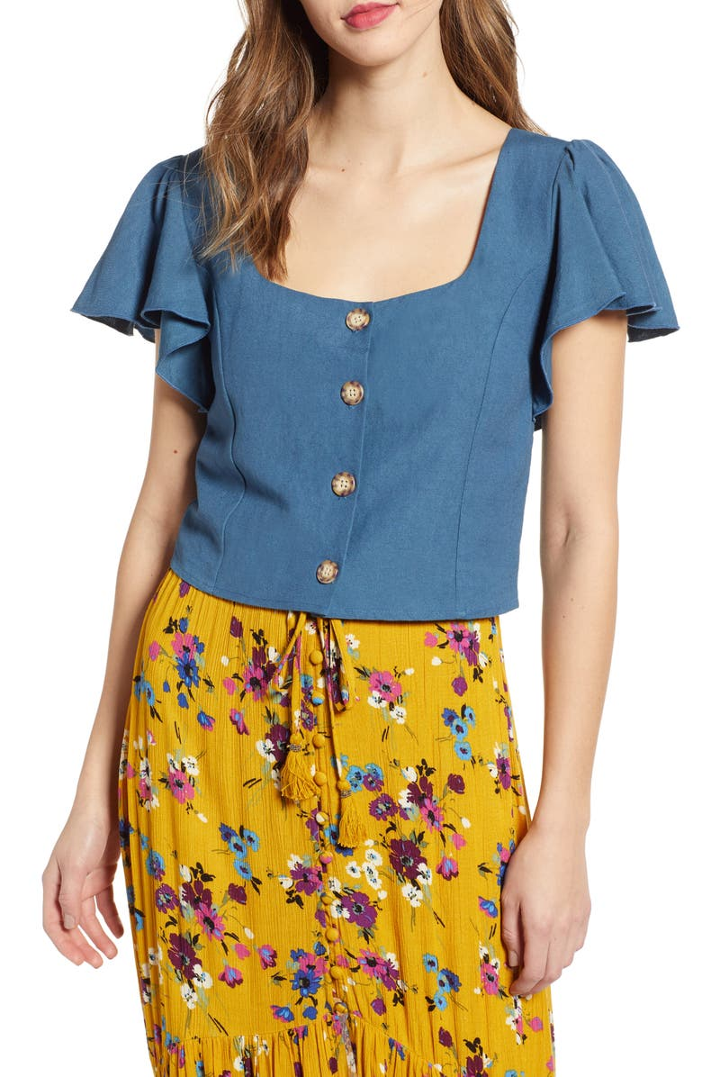 BAND OF GYPSIES Vancouver Button Front Top, Main, color, 400