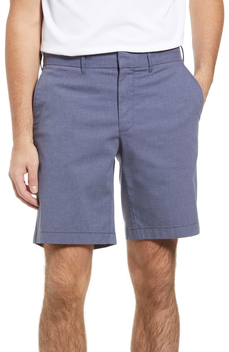 NORDSTROM Slim Fit CoolMax<sup>®</sup> Flat Front Performance Chino Shorts, Main, color, BLUE SHADOW