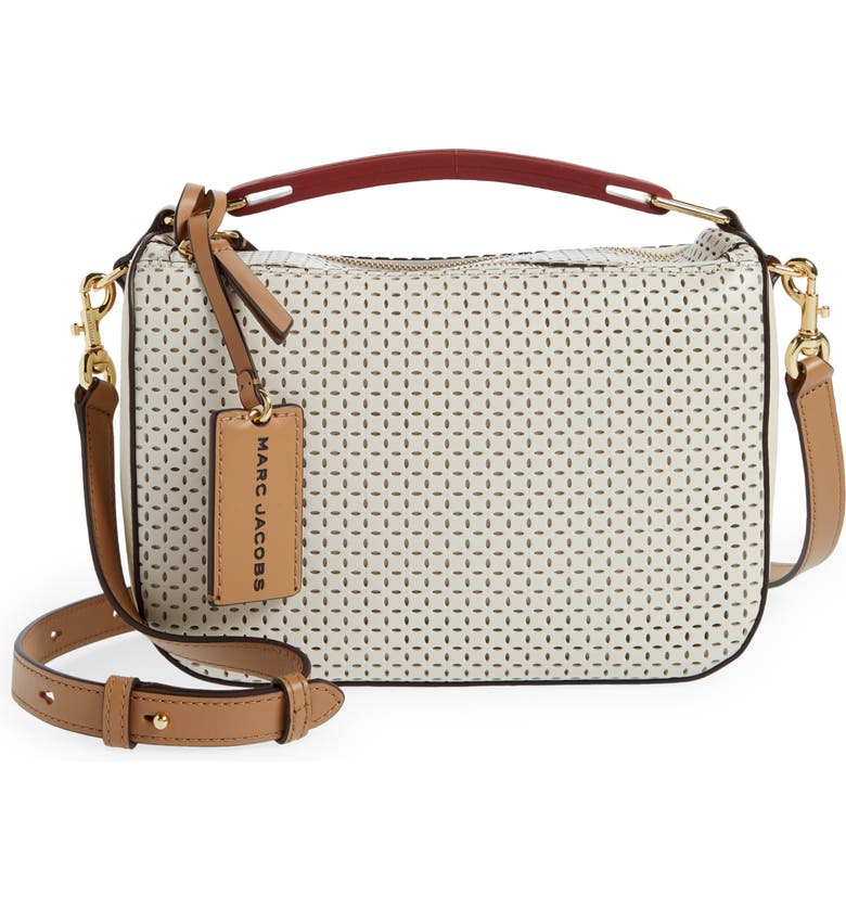 MARC JACOBS The Box Leather Crossbody Bag, Main, color, IVORY MULTI
