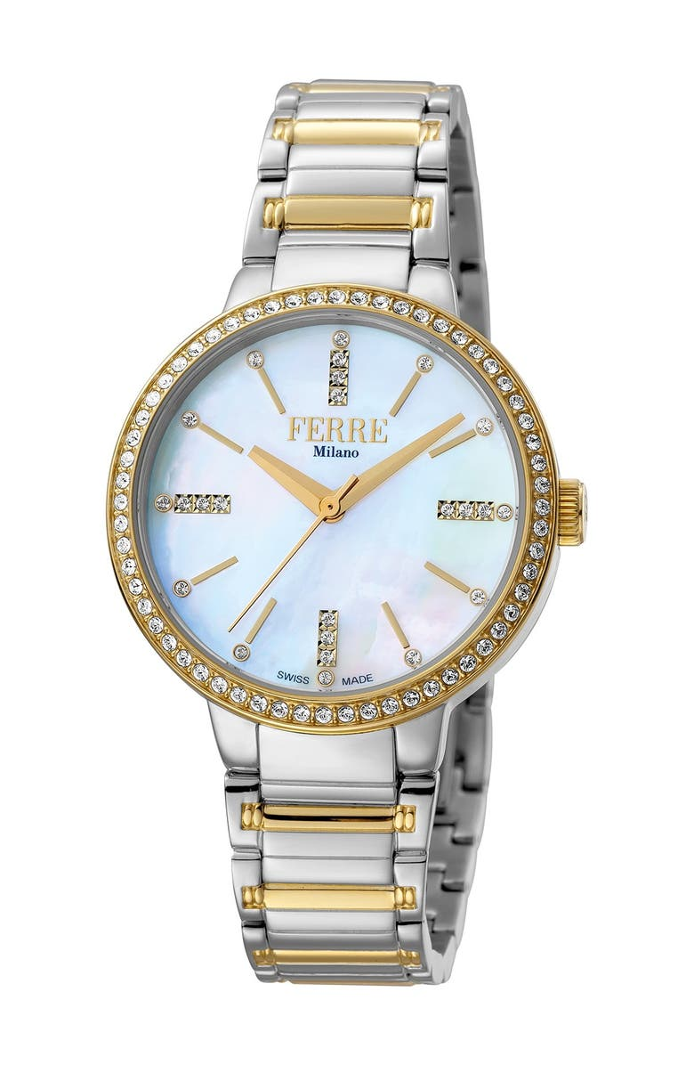 FERRE MILANO Women's Donna Giada Two-Tone Stainless Steel Watch, 34mm, Main, color, TWO TONED SS/IPYG