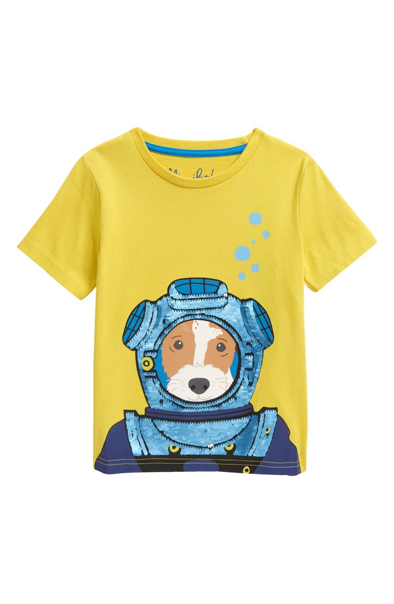 MINI BODEN Kids' Sweetcorn Yellow Diver Sequin Graphic Tee, Main, color, 724