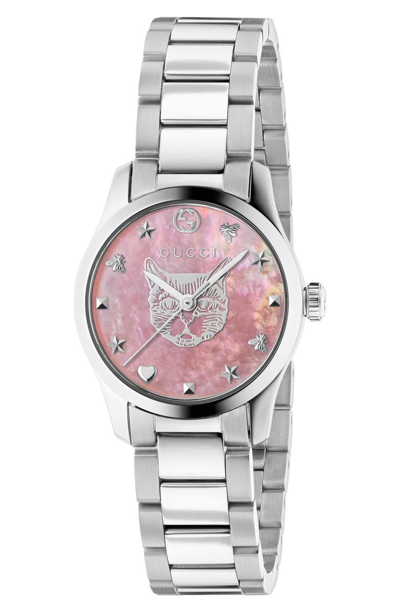 GUCCI G-Timeless Feline Bracelet Watch, 27mm, Main, color, SILVER/ PINK