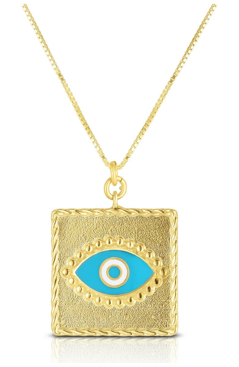 SPHERA MILANO 18K Yellow Gold Plated Sterling Silver Evil Eye Square Pendant Necklace, Main, color, BLUE