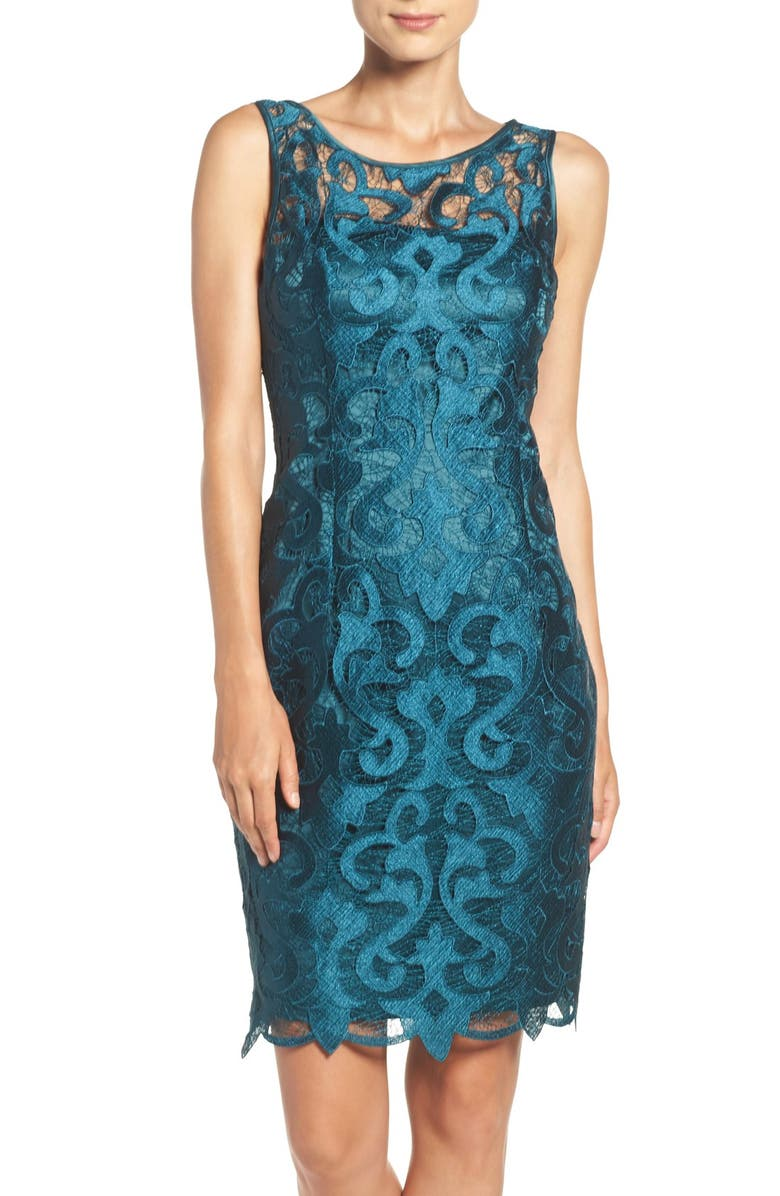 ADRIANNA PAPELL Guipure Lace Sheath Dress, Main, color, 303