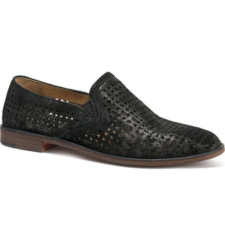 TRASK Ali Perforated Loafer, Main, color, BLACK SUEDE