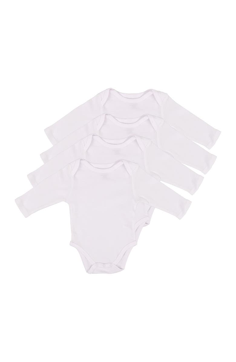 LEVERET Solid Long Sleeve Bodysuit - Pack of 4, Main, color, WHITE