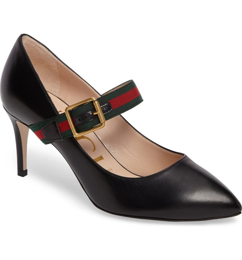 GUCCI Sylvie Mary Jane Pump, Main, color, BLACK LEATHER