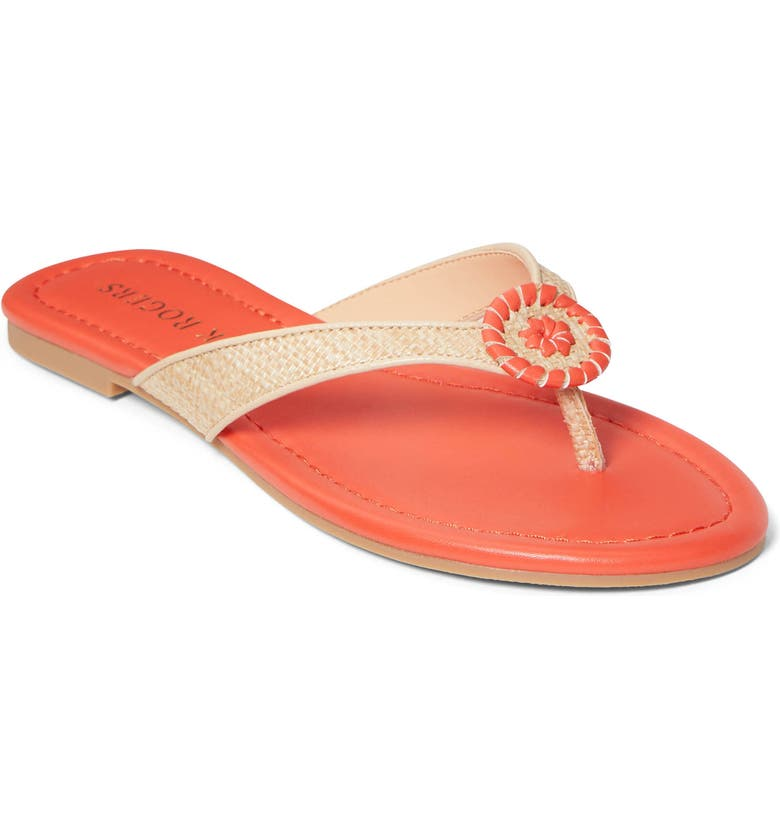 JACK ROGERS Rowan Flip Flop, Main, color, NATURAL/ FIRE RED