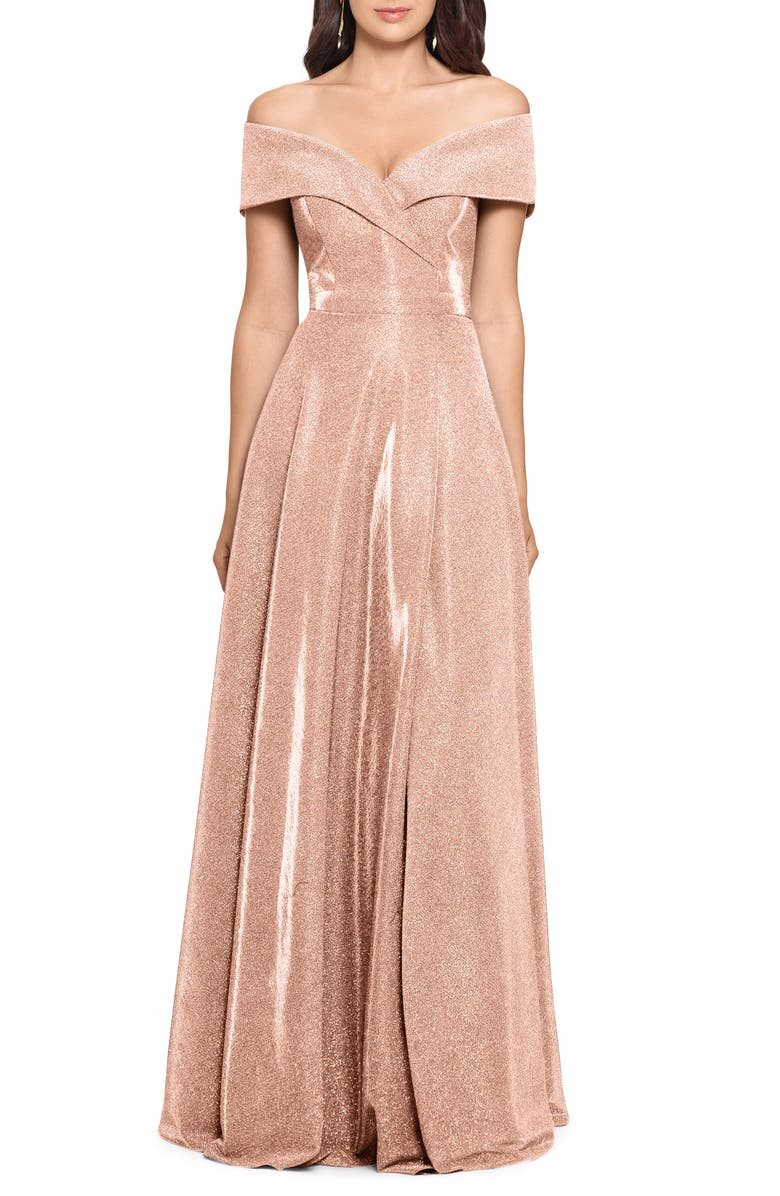 XSCAPE Off the Shoulder Glitter Gown, Main, color, BLUSH/ SILVER