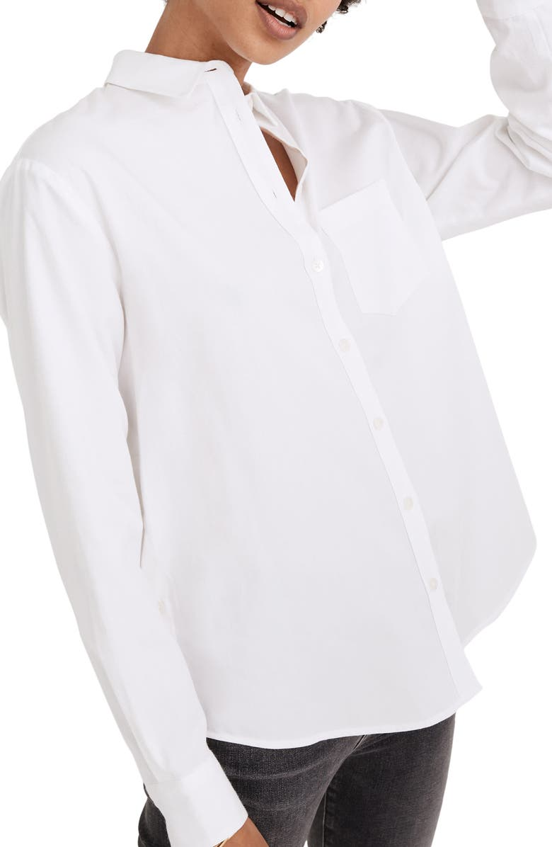MADEWELL Side Button Oversize Ex-Boyfriend Shirt, Main, color, EYELET WHITE