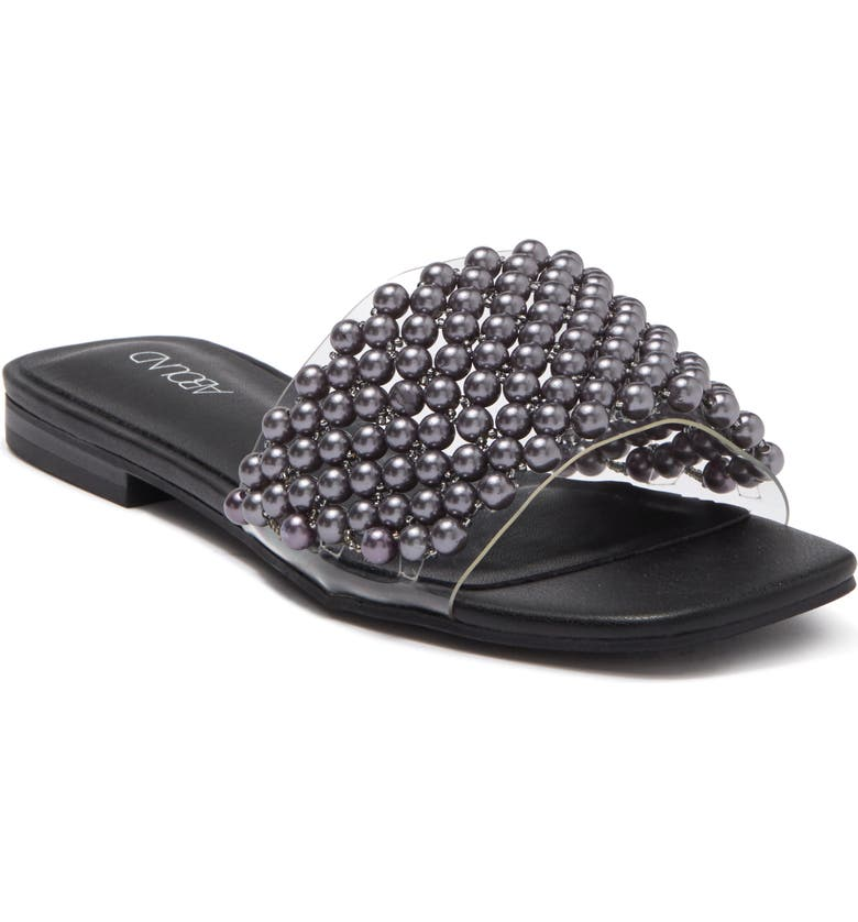 ABOUND Selah Faux Pearl Embellished Slide Sandal, Main, color, GREY CHARCOAL PEARL