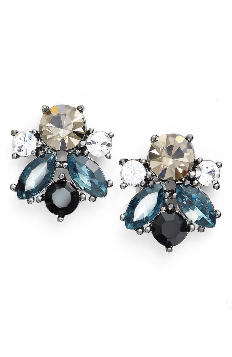 KENT & KING Jeweled Cluster Stud Earrings, Main, color, 001