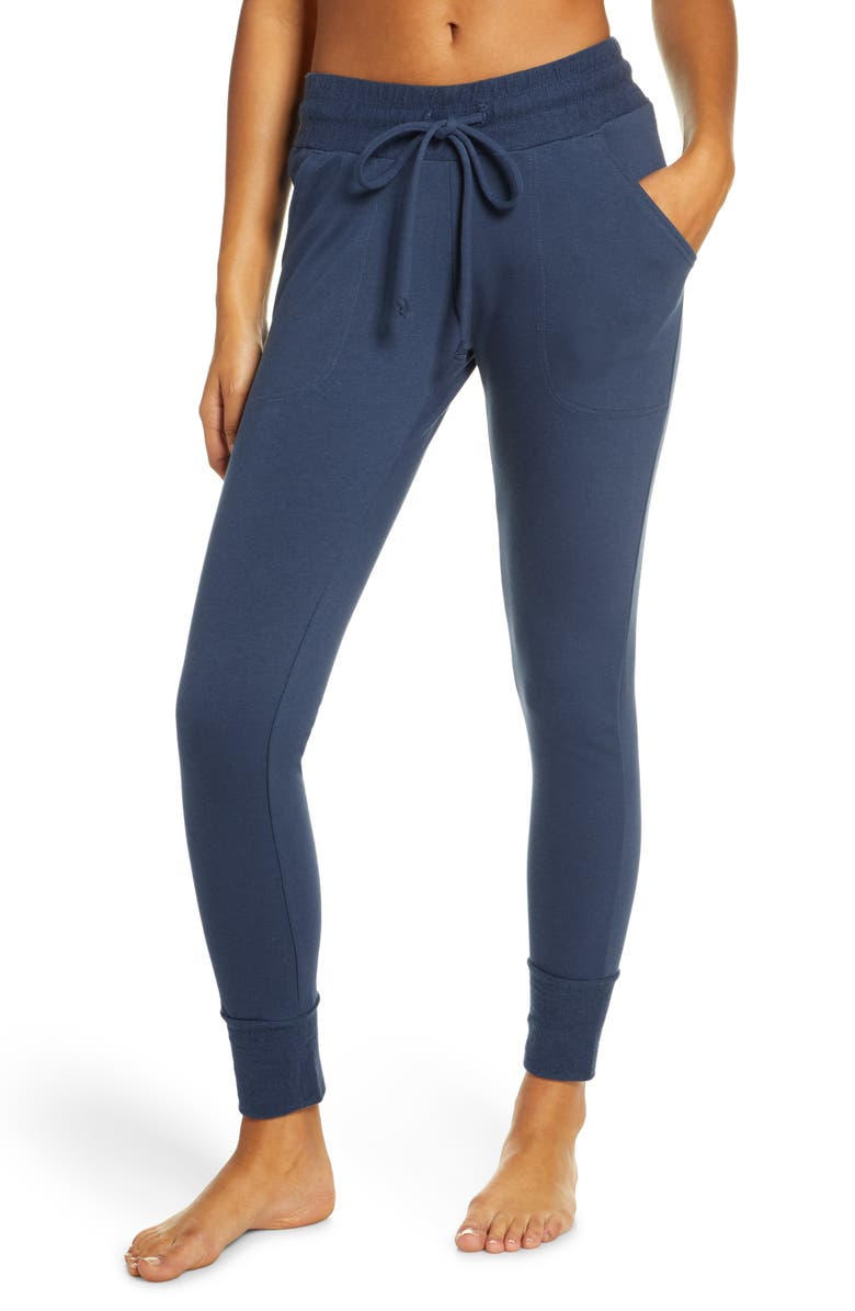 FREE PEOPLE FP MOVEMENT Sunny Skinny Sweatpants, Main, color, NAVY
