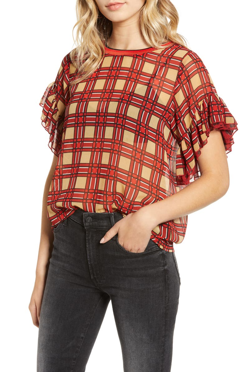 SCOTCH & SODA Mix Print Ruffle Sleeve Top, Main, color, 620