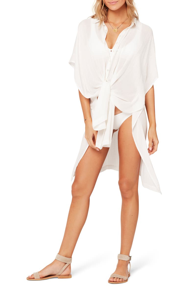 L SPACE Anita Cover-Up Shirtdress, Main, color, WHITE