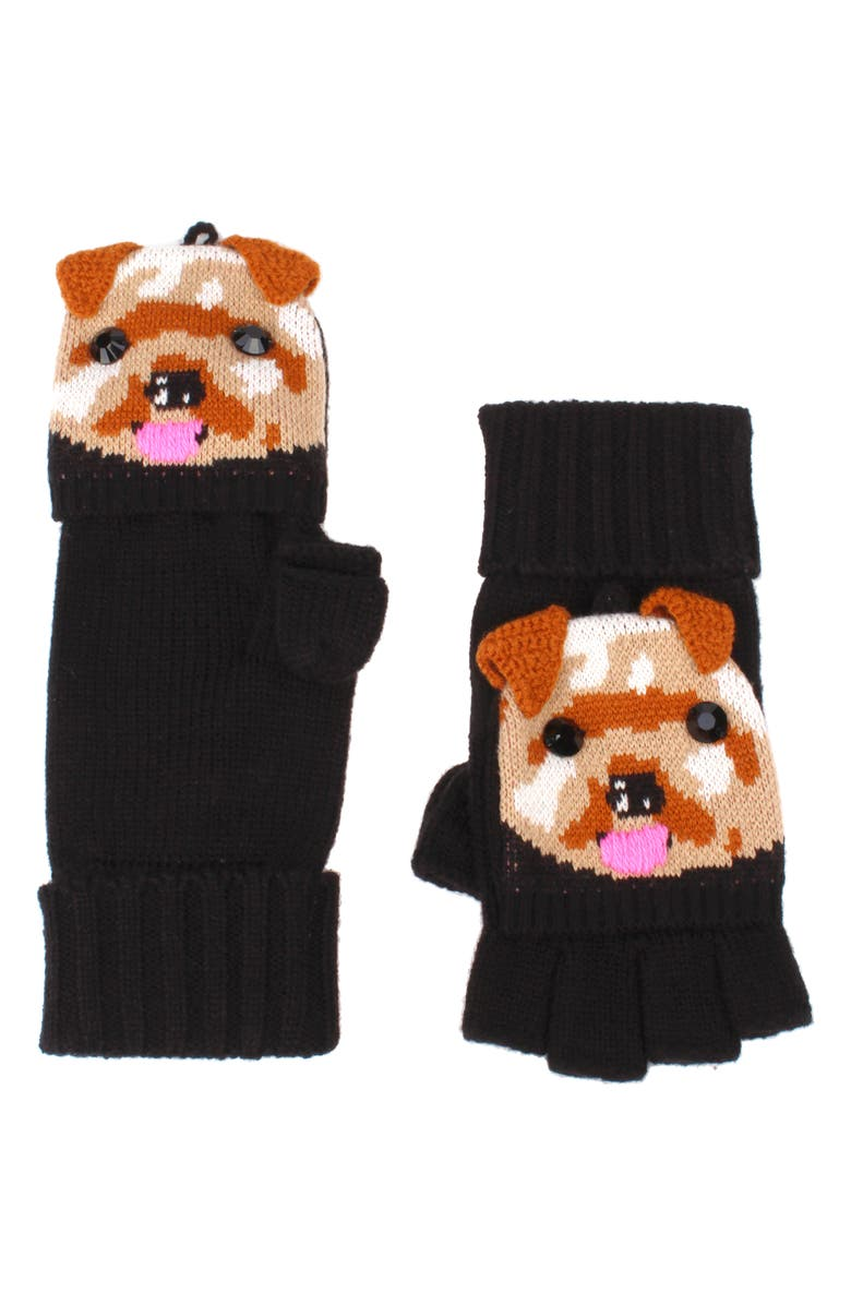 KATE SPADE NEW YORK terrier pop top mittens, Main, color, BLACK