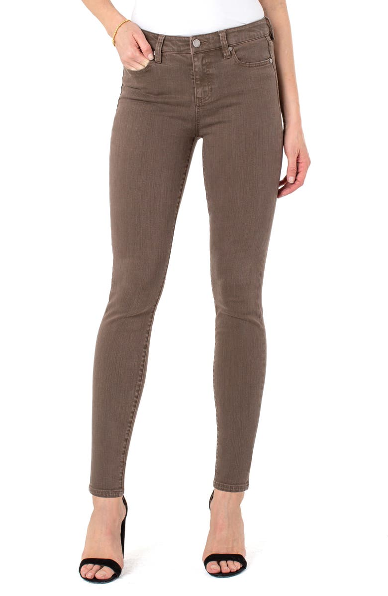 LIVERPOOL Abby Skinny Pants, Main, color, OLIVE BARK