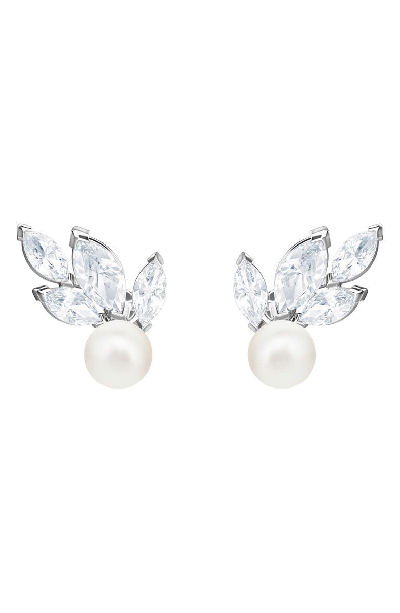 SWAROVSKI Louison Crystal & Imitation Pearl Earrings, Main, color, 040