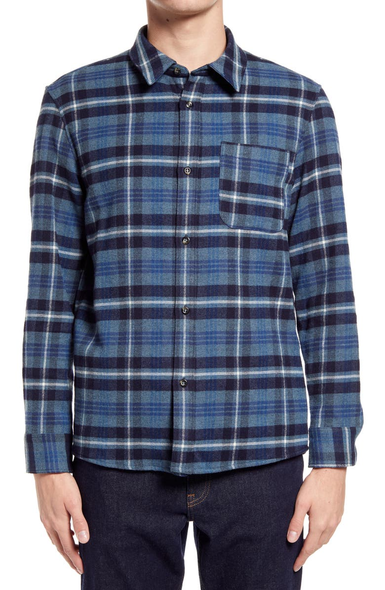 A.P.C. Surchemise Trek Button-Up Flannel Shirt Jacket, Main, color, 400