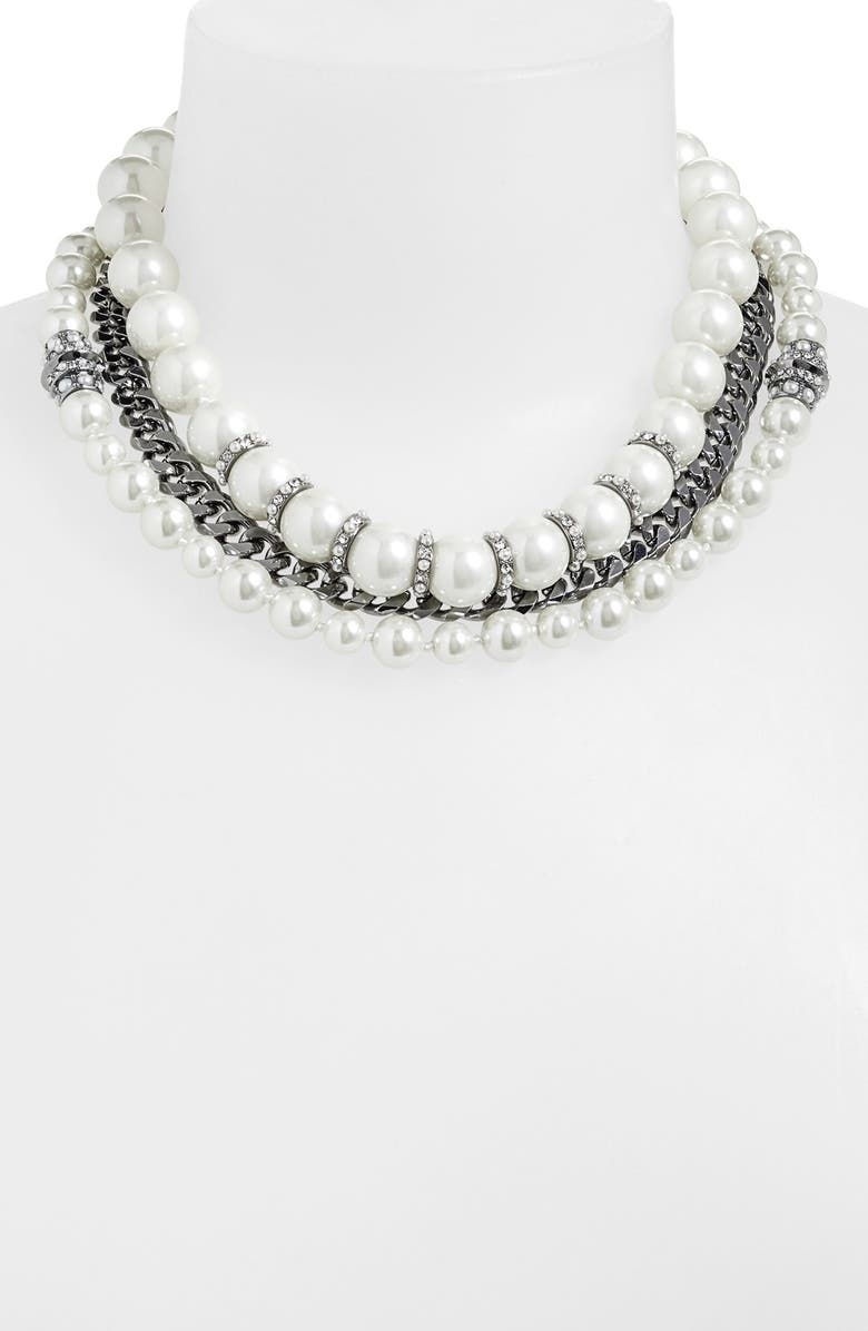 GIVENCHY Multistrand Necklace, Main, color, WHITE PEARL/ CLEAR/ HEMATITE