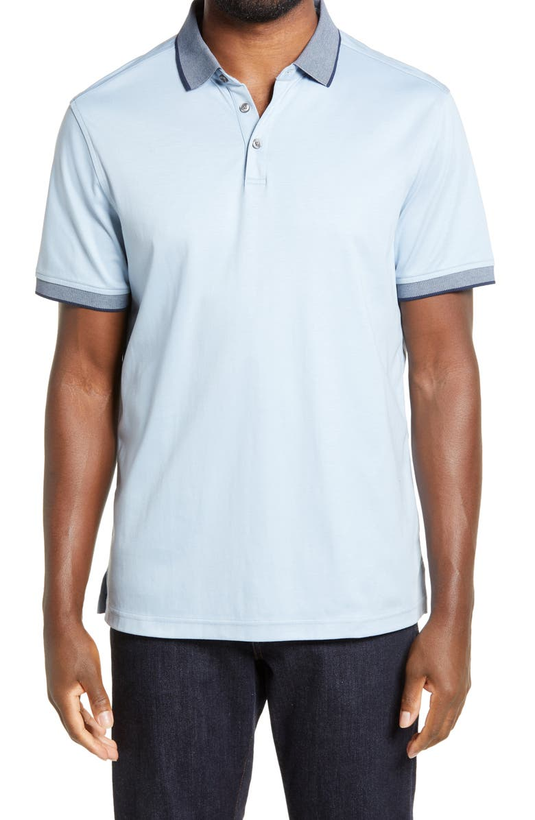 NORDSTROM MEN'S SHOP Nordstrom Short Sleeve Tipped Polo, Main, color, BLUE DRIZZLE