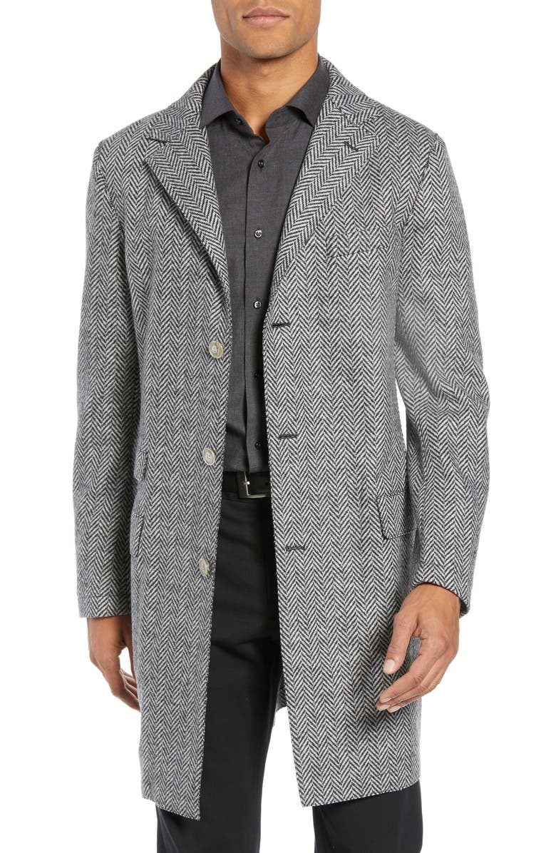 ELEVENTY Trim Fit Wool Blend Top Coat, Main, color, 027