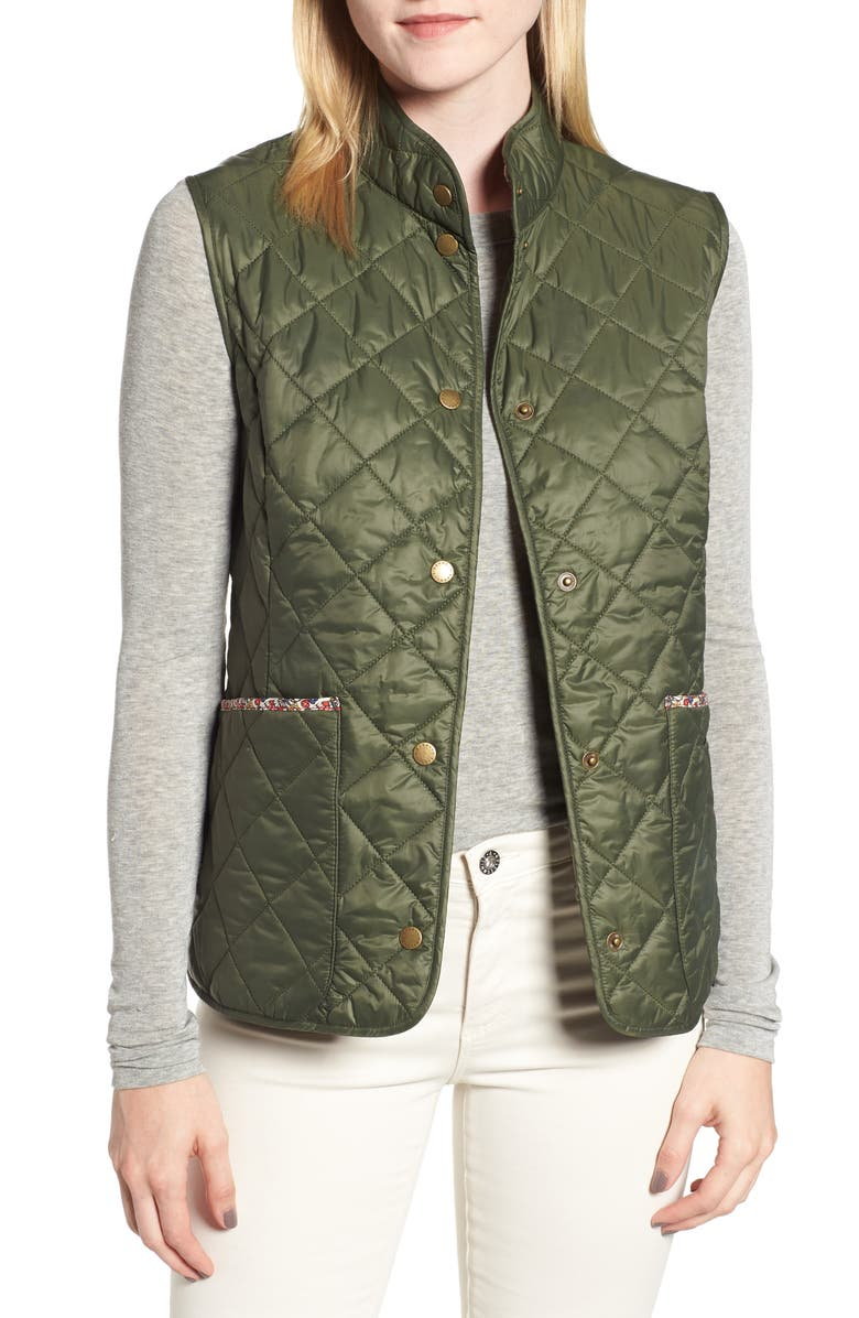 BARBOUR x Liberty Camila Quilted Vest, Main, color, OLIVE/ MORRIS BUTTERFLY