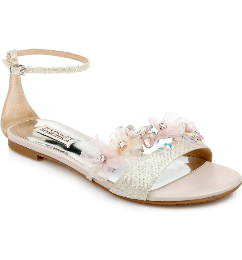 BADGLEY MISCHKA COLLECTION Candace Embellished Flat, Main, color, OPAL FABRIC