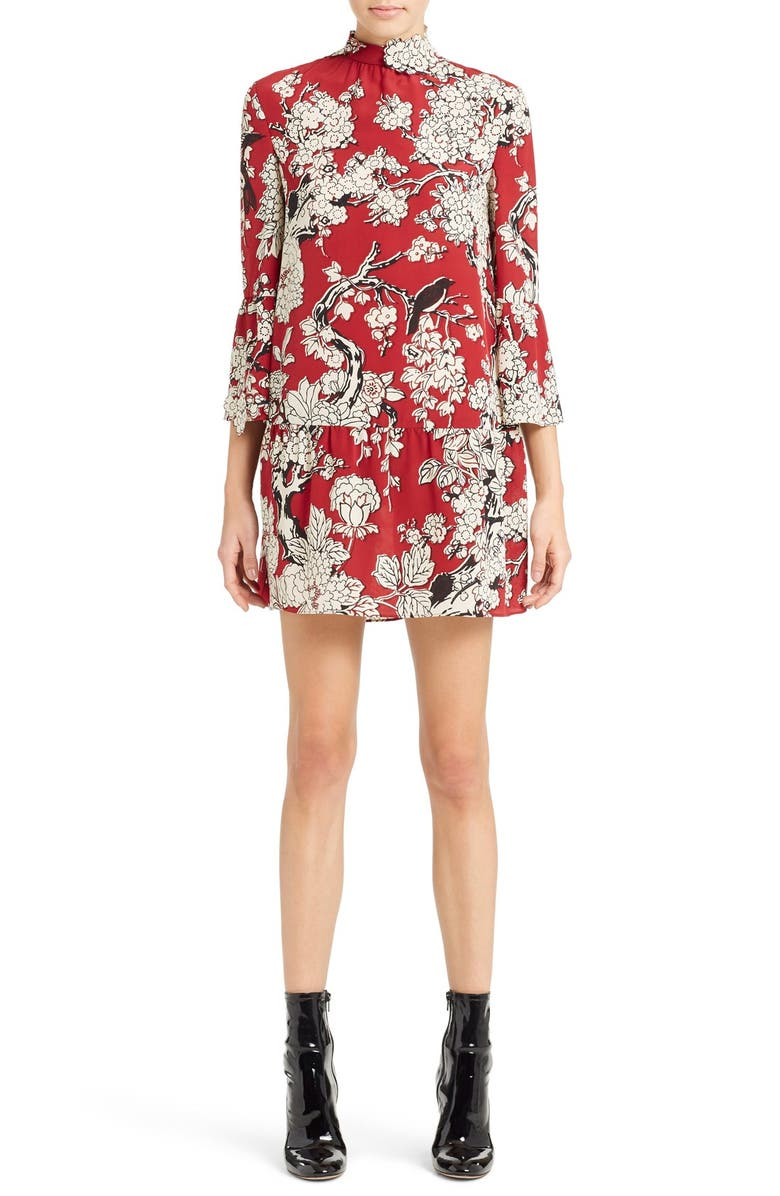 VALENTINO 'Enchanted' Floral Print Stretch Silk Dress, Main, color, DEEP RED