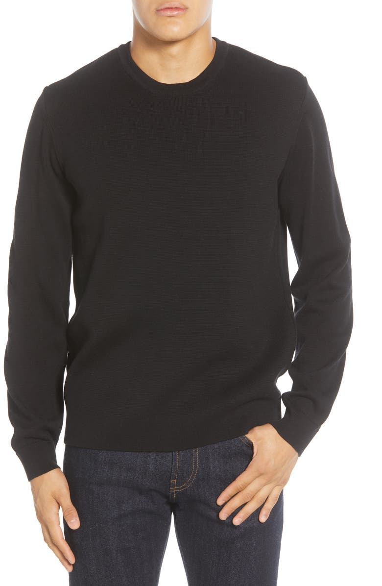 FRENCH CONNECTION Milano Regular Fit Crewneck Sweater, Main, color, Black