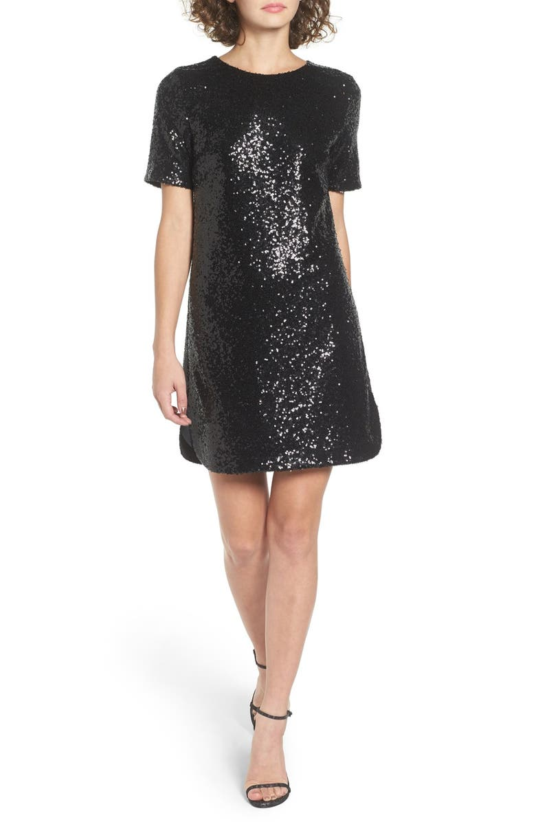 SOPRANO Sequin T-Shirt Dress, Main, color, 001