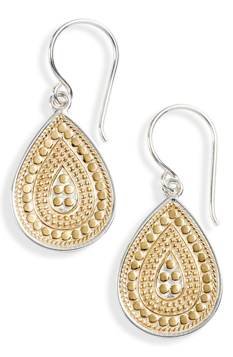 ANNA BECK Small Teardrop Earrings, Main, color, GOLD/ SILVER