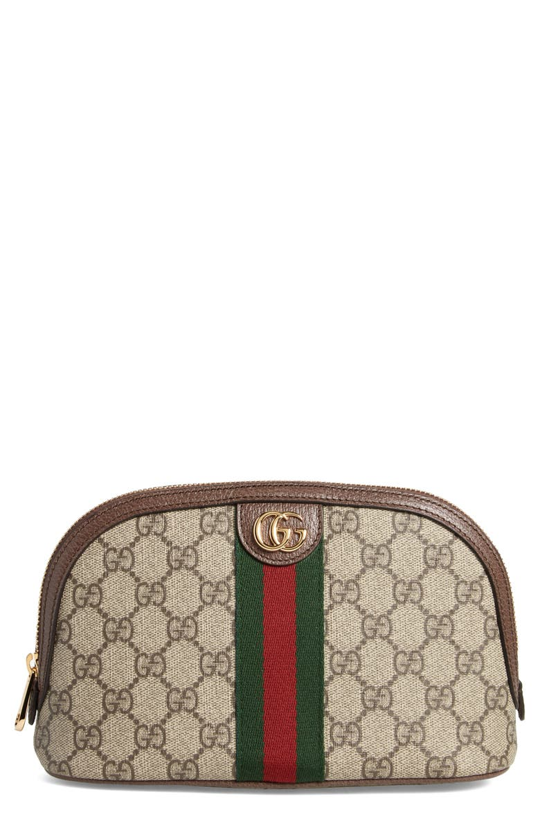 GUCCI Large Ophidia GG Supreme Canvas Cosmetics Case, Main, color, BEIGE EBONY/ N ACERO/ VERT RED