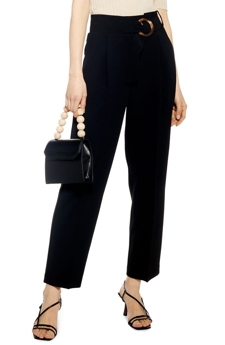TOPSHOP Wilma Belted Peg Tapered Trousers, Main, color, 001