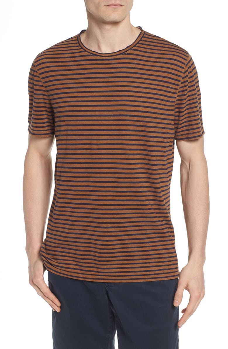 AG Theo Slim Fit Striped Cotton & Linen T-Shirt, Main, color, 048