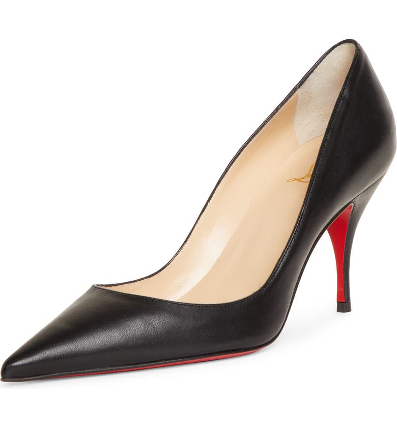 CHRISTIAN LOUBOUTIN Clare Pointed Toe Pump, Main, color, BLACK LEATHER